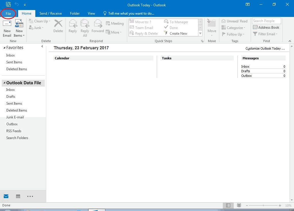 01 - Click File -Outlook Email Setup