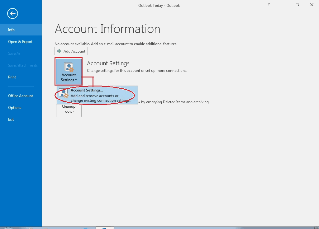 02 - Click Account Settings -Outlook Email Setup