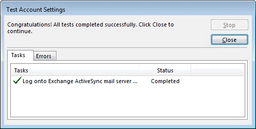 07 - Completed Click Close -Outlook Email Setup