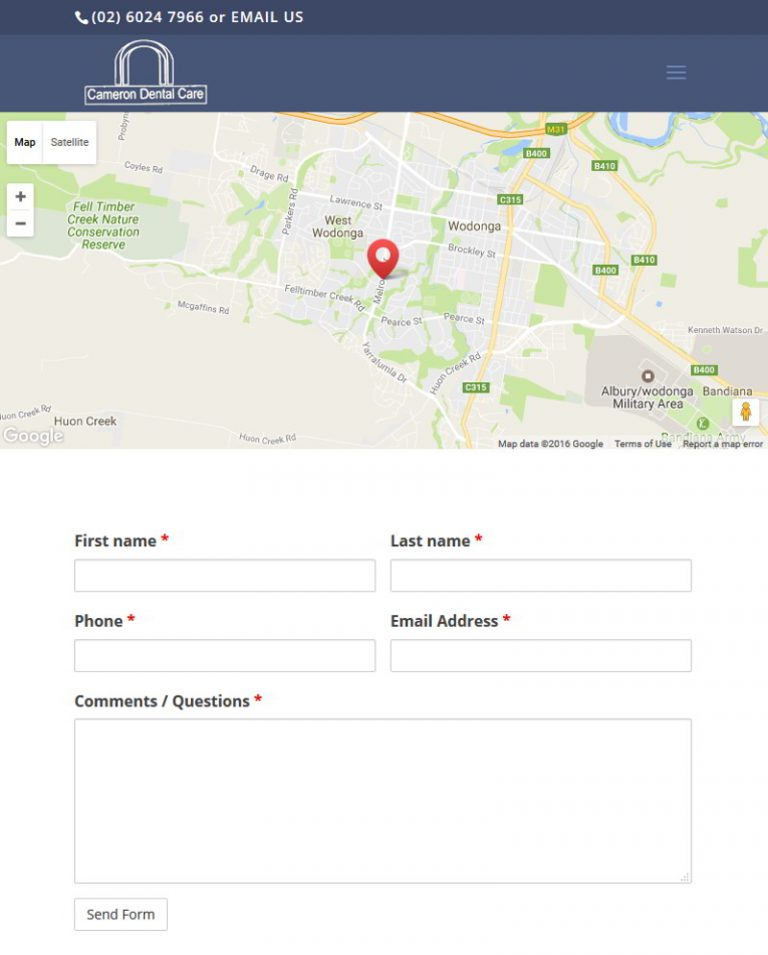 Cameron Dental - Wodonga - Contact Page with Map