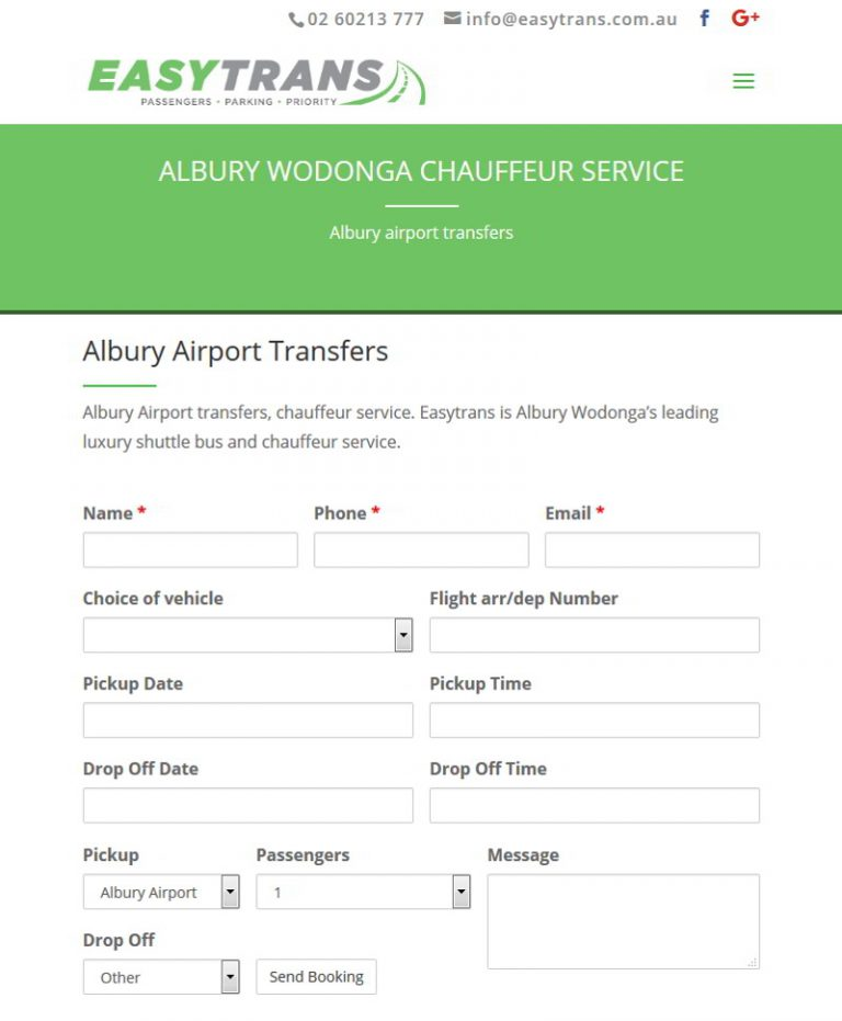 RaaX Albury Airport Booking Form