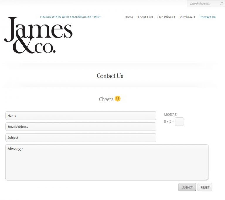 James and Co Wines - Rutherglen - Simple Contact Page
