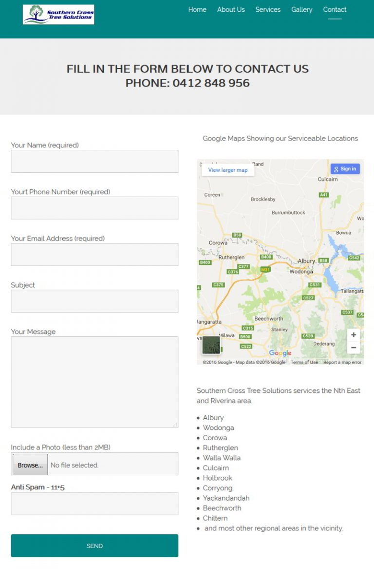 Southerncross Trees - Albury - Contact Form and Map